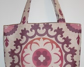 Medium tote in pink and purple suzani -- STORE CLOSING. Everything discounted...