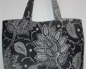 Large tote in white on black paisley -- STORE CLOSING. Everything discounted..