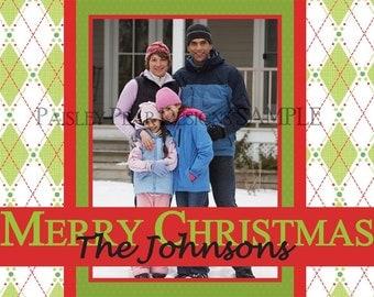 Green Argyle Holiday Photo Card