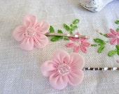 Pastel Pink Beaded Organza Bridal Hair Pins