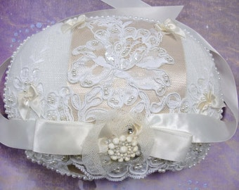Bridal Pillow Ring Bearers Pillow in Ivory and Vintage Trims and Laces