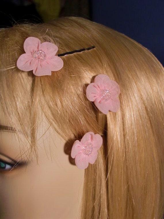 Pink Bridal Hairpins Wedding Headpiece Pink Beaded Daisies Set of 3