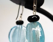 Colleen Earrings--Sterling Silver, Sky Blue Foiled Art Glass, Black Seed Bead Accents