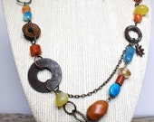 Taos Necklace--Butterscotch Chalcedony,Turquoise, Upcycled Hardware, Matching Bracelet and Earrings Available