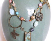 Lazy River Necklace--Multicolored Gemstones, Birds, Enameled Pendant, Matching Earrings Available
