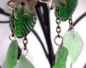 Indigenous Earrings--Frosted Green Glass Leaves, Peach Czech Pressed Glass Flowers, Antiqued Brass Chain Dangles, Spring, Nature
