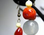 Eileen Earrings--New Jade, Burnt Orange Chalcedony, Boho, Neutral, Semiprecious Gemstones