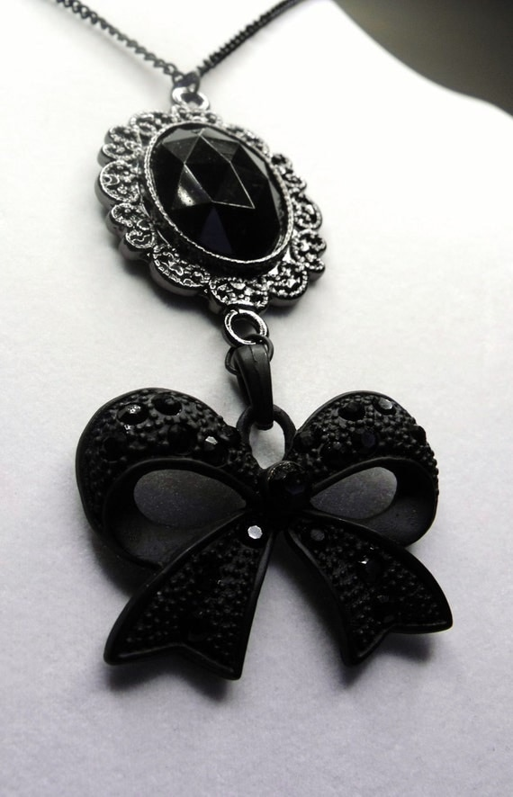Belle Epoque Necklace--Black Cabochon, Bow Pendant, Matching Earrings and Bracelet Available