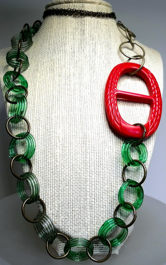 Buckle Up Necklace--Vintage, Cherry Red Bakelite Buckle and Lime Juice Bakelite Links, Retro, Kitschy, Upcycled, 40s