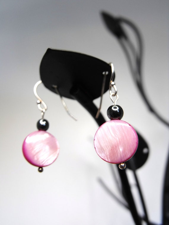 Lucy Earrings--Pink PearlizedShell Discs, Sterling Silver, Hematite Accents