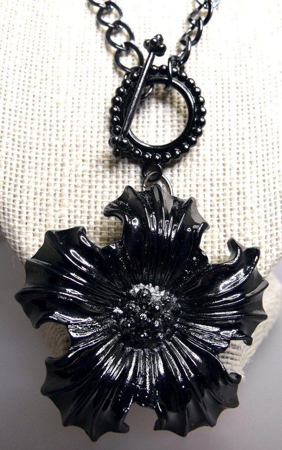 Antoinette Necklace--Large Gunmetal Flower, Beautiful Toggle Clasp, Victorian, Goth, Mourning