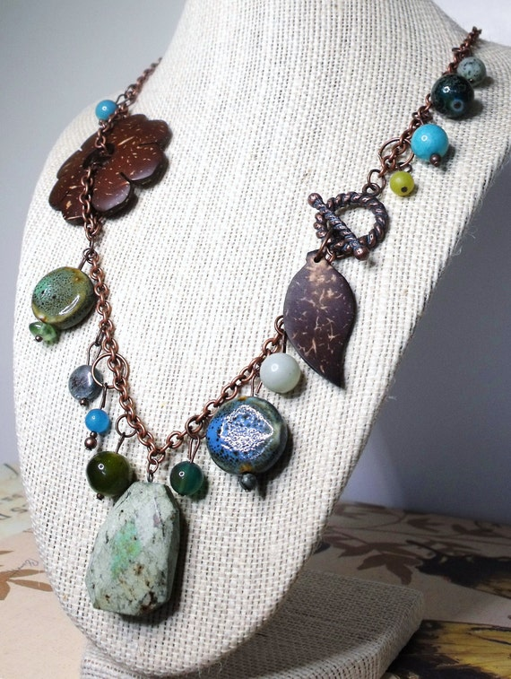 Botanika Necklace--Rough Gemstone, Coconut Shell, Mixed Beads, Matching Earrings Available