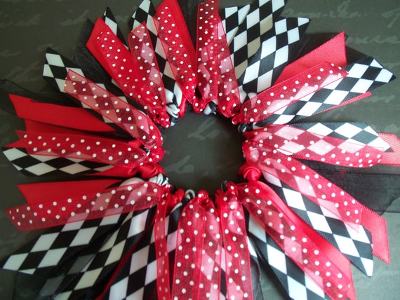 SALE Twilight Inspired Red Black And White Harlequinn Pattern Ponytail Holder Hairbow Ribbon By Petite Personalities on Etsy.com
