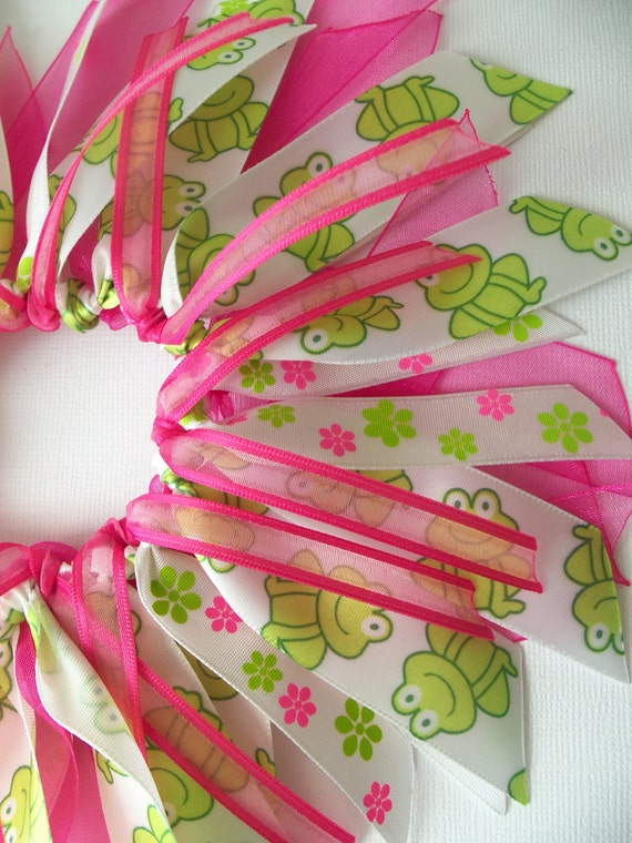 Hot Pink ANd Green Frog ANd Flower Cheer Style Ponytail Holder Hairbow Ribbon by Petite Personalities on Etsy.com