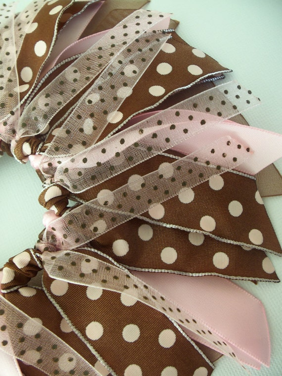 SALE Pink And Brown Polka Dots Cheer Style Ponytail Holder Hairbow Ribbon by Petite Personalities on etsy.com