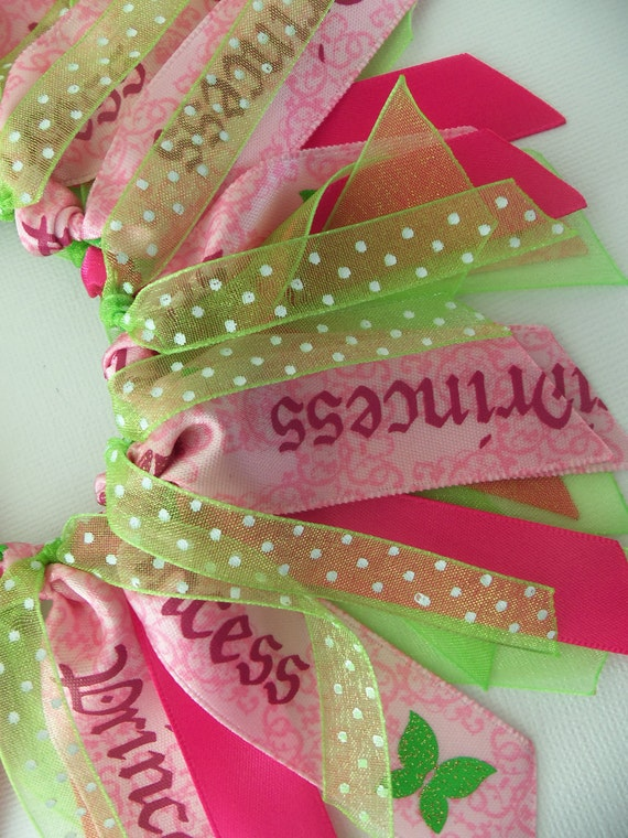 SALE Pink And Green Princess Polka Dot Butterfly Cheer Style Ponytail Holder Hairbow Ribbon by Petite Personalities on Etsy.com