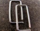 STERLING Rectangle Hoop Earrings - Silver Sleeper Earring -  Small Earrings  - Child Earrings   No.00E187