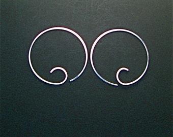 HOOP EARRINGS. sterling silver . interchangeable No.00E2