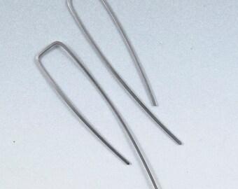 Minimal Niobium EARRINGS. Long Niobium Earrings. Simple Niobium Earrings. 2 Inch Niobium . hypoallergenic No.00E140