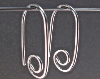STERLING HOOP earring . Child earrings. Sterling silver small hook sleeper ear wire lightweight minimal modern nickel free No.00E163