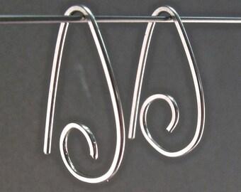 STERLING SILVER  HOOP earrings small hook sleeper ear wire minimal modern simple nickel free . interchangeable No.00E165