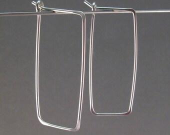 STERLING SILVER HOOP earrings . rectangular . hammered . ear wire . minimal . modern . geometric  . interchangeable . nickel free No.00E177