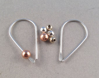STERLING SILVER HOOP sleeper wire earrings gold copper silver bead small light weight minimal modern simple child nickel free No.00E181