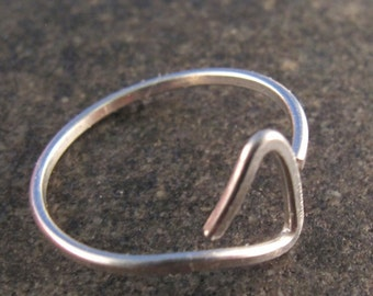 small STERLING SILVER hoop earrings. sleeper earring .small. Simple .cartilage. child. open  hoop No.00E193
