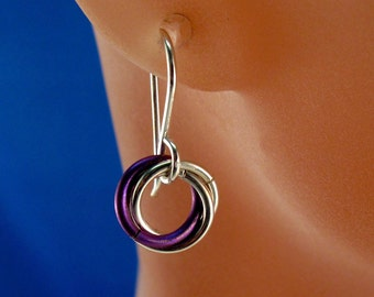 LOVE KNOT EARRINGS. 925 sterling silver, niobium.  friendship earring. promise. celtic. eternity. friendship earrings. nickel free No.00E204