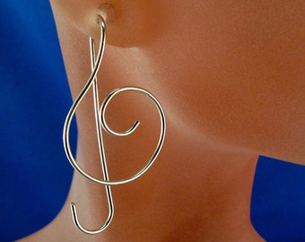 STERLING SILVER music earrings.  TREBLE clef earrings. music jewelry. musician gift. rose gold music earrings No.00E104