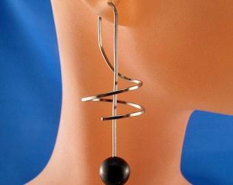 SPIRAL NIOBIUM EARRINGS coil earrings. niobium wire earrings. long . grey nickel free corkscrew  wind on earrings No.00E219
