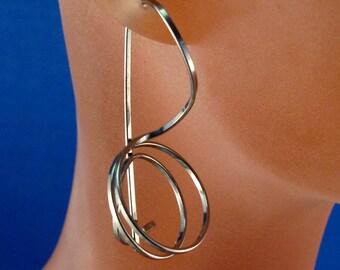 NIOBIUM SPIRAL EARRINGS wire coil small earrings.  grey. nickel free. locking hook earrings No.00E242