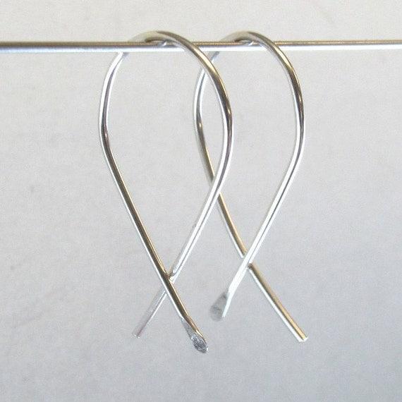 STERLING SILVER HOOP earrings. Inch Earrings - Inch Silver Dangle - Small Sterling -  Everyday Earrings  No.00E154
