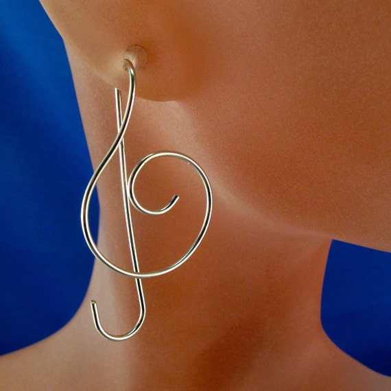 STERLING SILVER music earrings TREBLE clef wire modern contemporary long wire nickel free  No.00E104