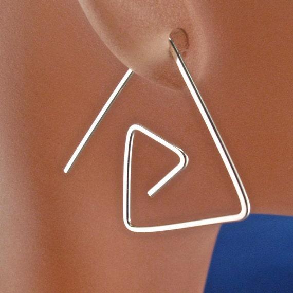 Triangle hoop earrings -  sterling dangle earrings - geometric earrings -  Spiral Nickel Free by Cecile Stewart Jewelry No.00E83