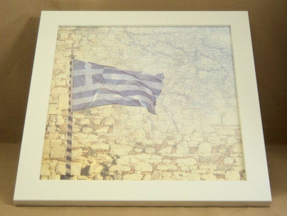 Memo Board - Magnetic and Dry Erase - Magnet Board - Framed - Greek Map and Flag Theme- includes matching magnets and key hook