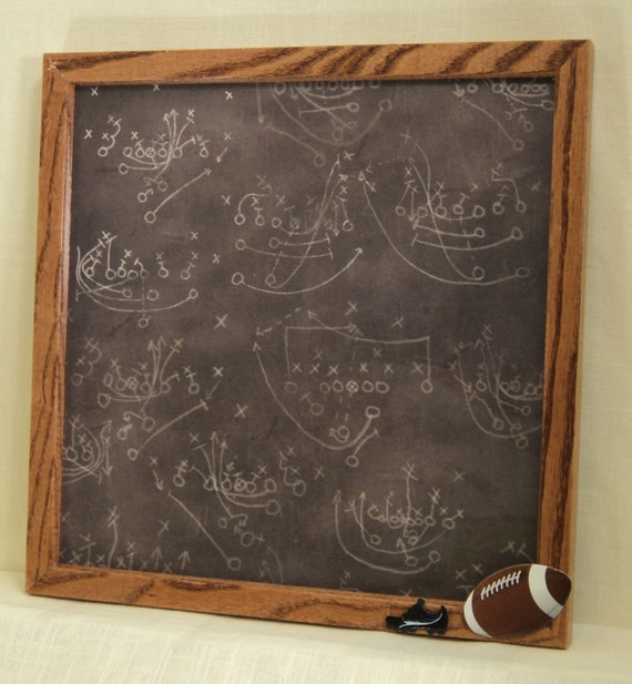 CLEARANCE Magnetic Board - Magnet Board - Dry Erase Memo Board - Football Plays Design - Framed - includes matching magnets