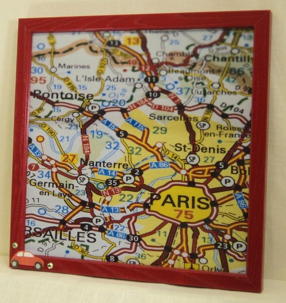CLEARANCE Magnetic Board - Magnet Board - Dry Erase Magnetic Memo Board - Paris Map Design - Framed - includes matching magnets