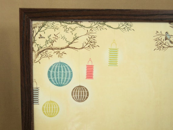 Wall Decor-Bulletin Board-Magnetic Memo Board-Magnet Board-Dry Erase Board-Japanese Lantern Design-includes matching magnets