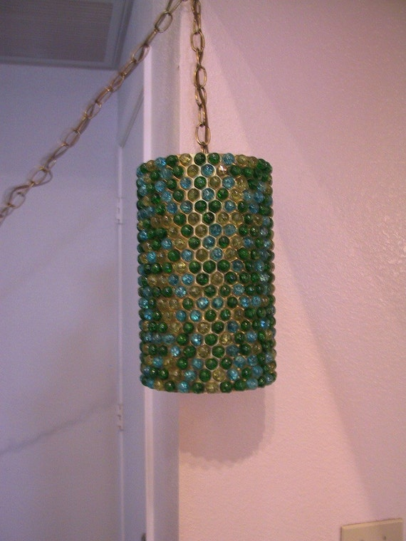 Vintage Retro Lucite Resin Swag Hanging Lamp Mosaic Hold For