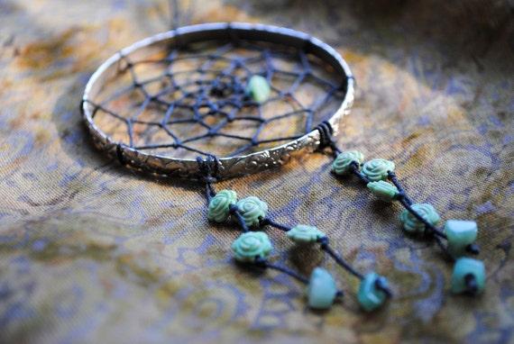 Elven Rose Silver and Green Bracelet Dreamcatcher