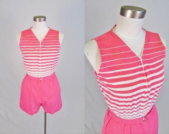 S A L E Vintage 1980's Striped Romper / Deadstock / Bermuda Run / S M