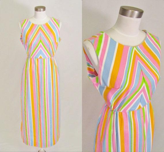 Vintage 1960's Maxi Dress / Beach Dress / Stripes / S M