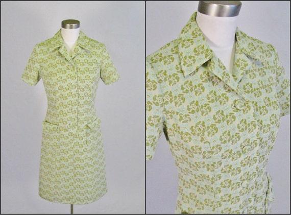 S A L E /// Vintage 1960's Floral Dress / Shift / S M