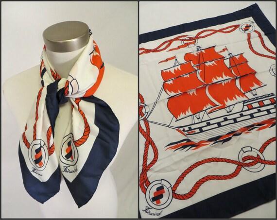 Vintage 1980's Nautical Scarf / Cruise Ship /