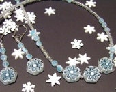 SALE First Flurries Snowflake Necklace and Earrings Set - White Blue and Pearl Glass