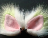 Lime Green and White Fur Ears Costume Hair Clips Cat Dog Wolf Coyote Fox Halloween Cosplay
