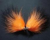Orange and Black Fur Fox Ears Clips Halloween Costume Cosplay