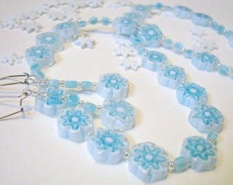 SALE Snow Day Snowflake Necklace and Earrings Set Blue and White Glass and Silver