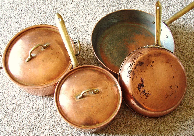 vintage tagus copper cookware pots and pans set of 4. Black Bedroom Furniture Sets. Home Design Ideas